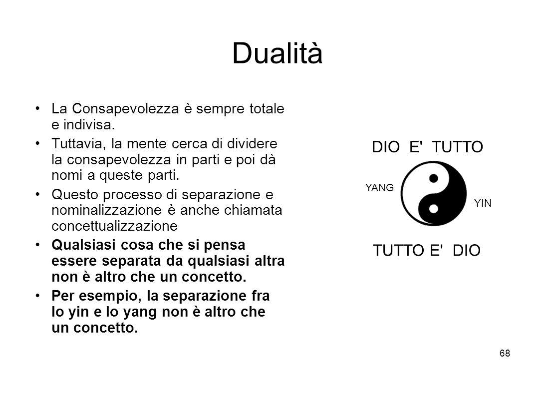 68 Dualità La Consapevolezza è sempre totale e indivisa.