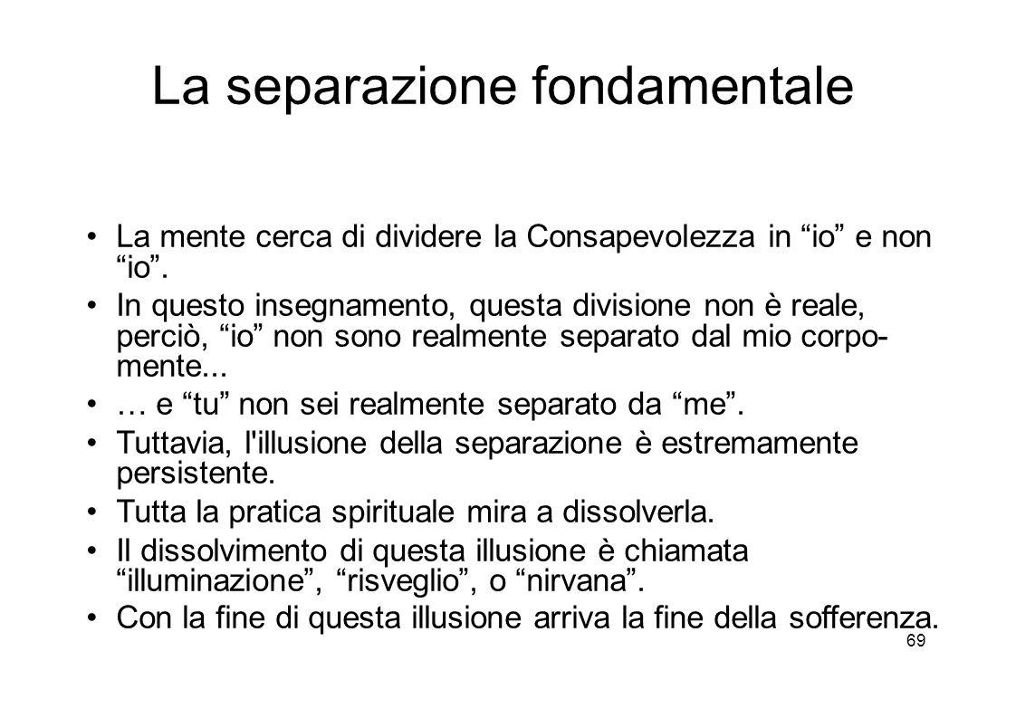 69 La separazione fondamentale La mente cerca di dividere la Consapevolezza in io e non io .