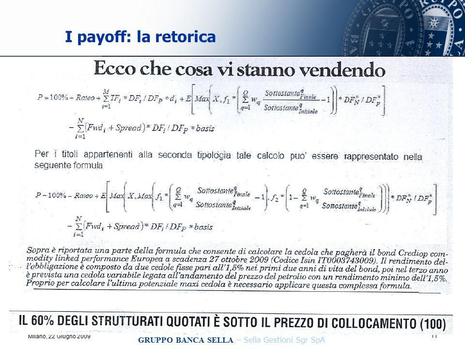 11 Incontro Attuari Incaricati Vita, Milano, 22 Giugno 2009 GRUPPO BANCA SELLA – Sella Gestioni Sgr SpA I payoff: la retorica