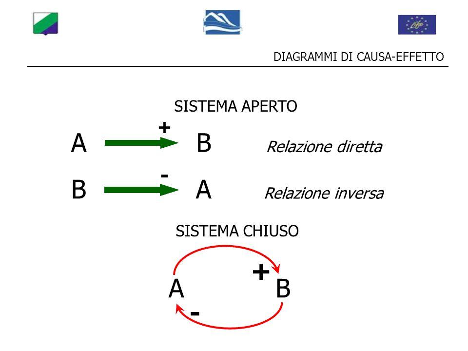 DIAGRAMMI DI CAUSA-EFFETTO BA - Relazione inversa AB + Relazione diretta SISTEMA APERTO AB + SISTEMA CHIUSO -