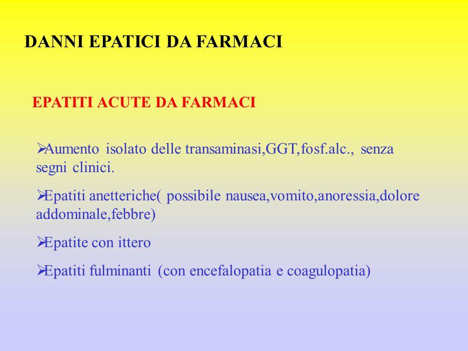 DANNI EPATICI DA FARMACI EPATITI ACUTE DA FARMACI  Aumento isolato delle transaminasi,GGT,fosf.alc., senza segni clinici.  Epatiti anetteriche( poss