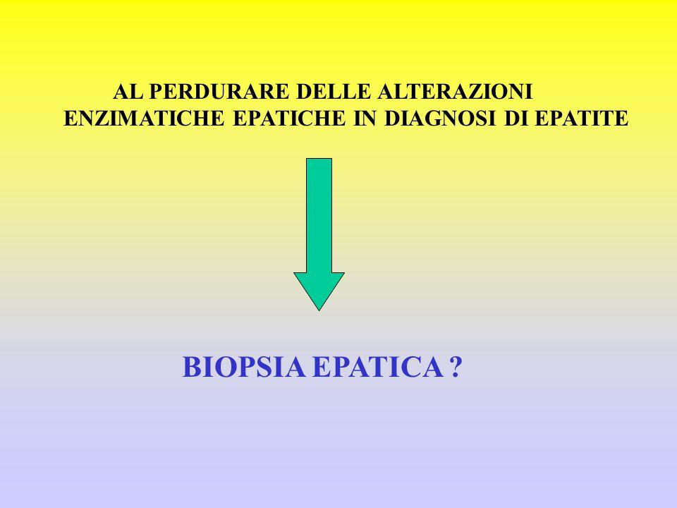 AL PERDURARE DELLE ALTERAZIONI ENZIMATICHE EPATICHE IN DIAGNOSI DI EPATITE BIOPSIA EPATICA ?
