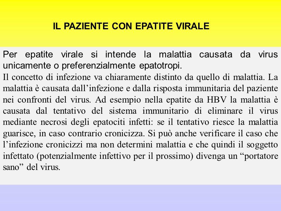 IL PAZIENTE CON EPATITE VIRALE Per epatite virale si intende la malattia causata da virus unicamente o preferenzialmente epatotropi.