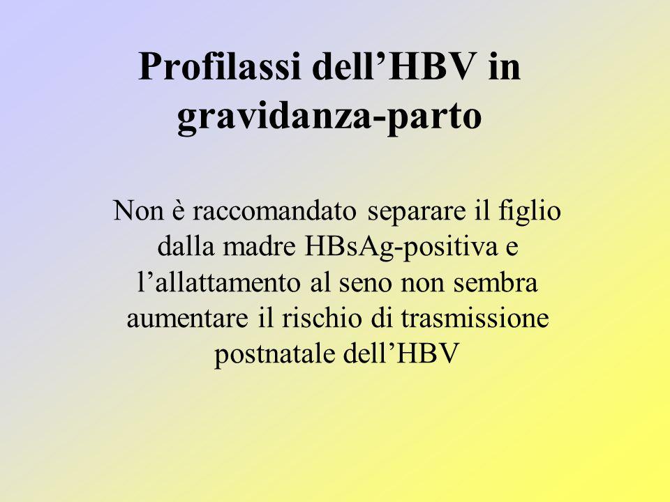 Profilassi dell'HBV in gravidanza-parto Non è raccomandato separare il figlio dalla madre HBsAg-positiva e l'allattamento al seno non sembra aumentare il rischio di trasmissione postnatale dell'HBV