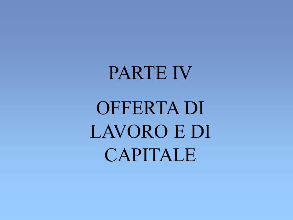 PARTE IV OFFERTA DI LAVORO E DI CAPITALE