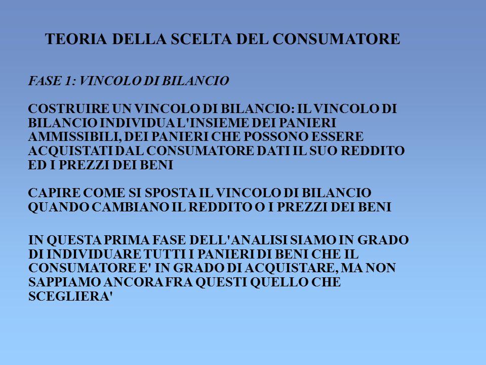 TEORIA DELLA SCELTA DEL CONSUMATORE FASE 1: VINCOLO DI BILANCIO COSTRUIRE UN VINCOLO DI BILANCIO: IL VINCOLO DI BILANCIO INDIVIDUA L'INSIEME DEI PANIE