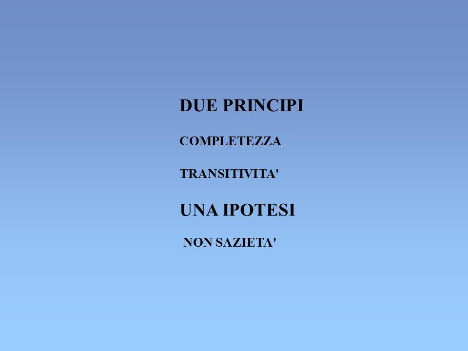 DUE PRINCIPI COMPLETEZZA TRANSITIVITA' UNA IPOTESI NON SAZIETA'
