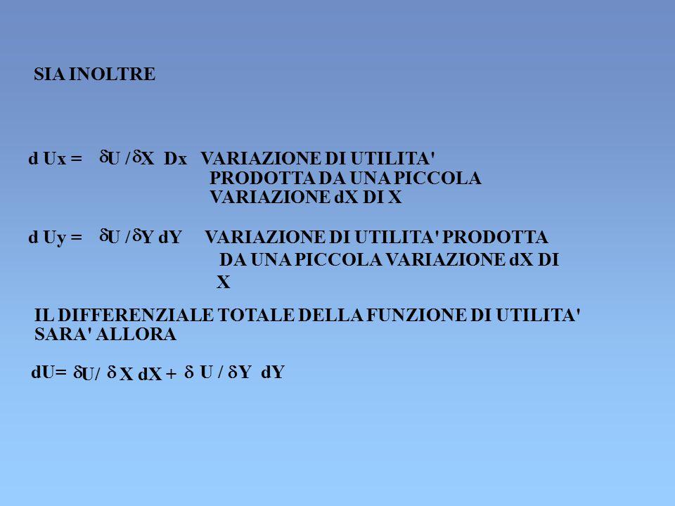 SIA INOLTRE d Ux =  U /  X Dx VARIAZIONE DI UTILITA' PRODOTTA DA UNA PICCOLA VARIAZIONE dX DI X d Uy =  U /  Y dY VARIAZIONE DI UTILITA' PRODOTTA