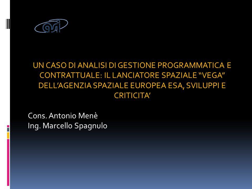 Il settore spaziale: scenario I programmi spaziali sono gestiti da :  Agenzie Spaziali Nazionali  ESA (convenzione istitutiva maggio 1975  UE ASI è l'Agenzia Italiana (L.186/1988 e revisione D.L.