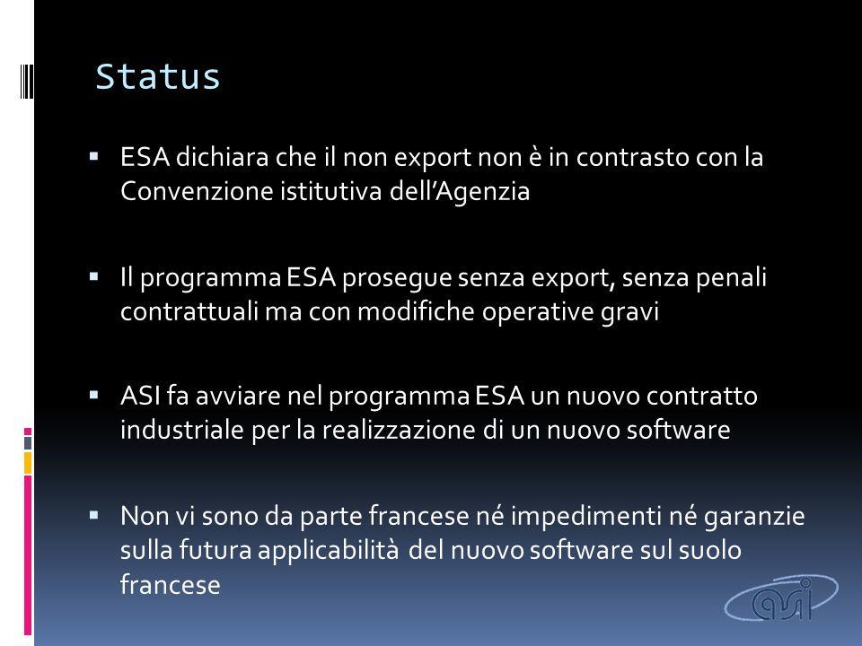 Status  ESA dichiara che il non export non è in contrasto con la Convenzione istitutiva dell'Agenzia  Il programma ESA prosegue senza export, senza