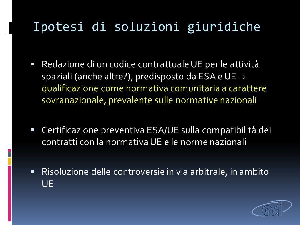 Ipotesi di soluzioni giuridiche  Redazione di un codice contrattuale UE per le attività spaziali (anche altre?), predisposto da ESA e UE ⇨ qualificaz