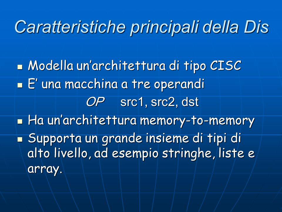 Caratteristiche principali della Dis Modella un'architettura di tipo CISC Modella un'architettura di tipo CISC E' una macchina a tre operandi E' una m