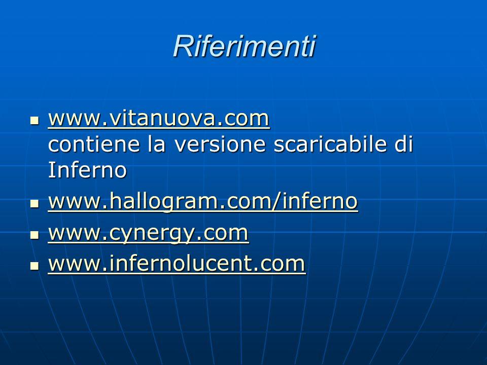 Riferimenti www.vitanuova.com contiene la versione scaricabile di Inferno www.vitanuova.com contiene la versione scaricabile di Inferno www.vitanuova.