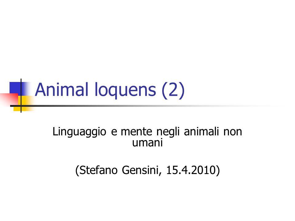 Animal loquens (2) Linguaggio e mente negli animali non umani (Stefano Gensini, 15.4.2010)
