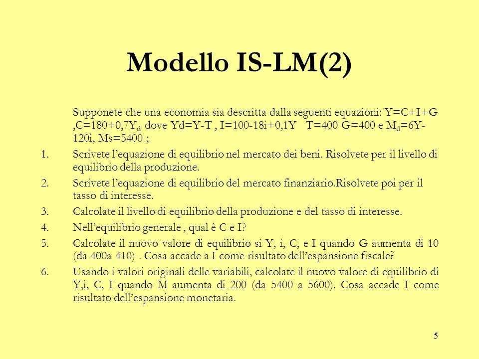 5 Modello IS-LM(2) Supponete che una economia sia descritta dalla seguenti equazioni: Y=C+I+G,C=180+0,7Y d dove Yd=Y-T, I=100-18i+0,1Y T=400 G=400 e M d =6Y- 120i, Ms=5400 ; 1.Scrivete l'equazione di equilibrio nel mercato dei beni.