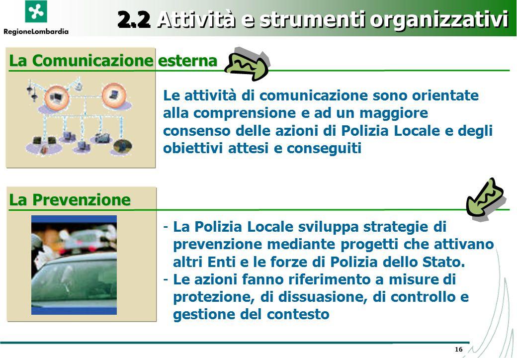 16 2.2 Attività e strumenti organizzativi Le attività di comunicazione sono orientate alla comprensione e ad un maggiore consenso delle azioni di Poli
