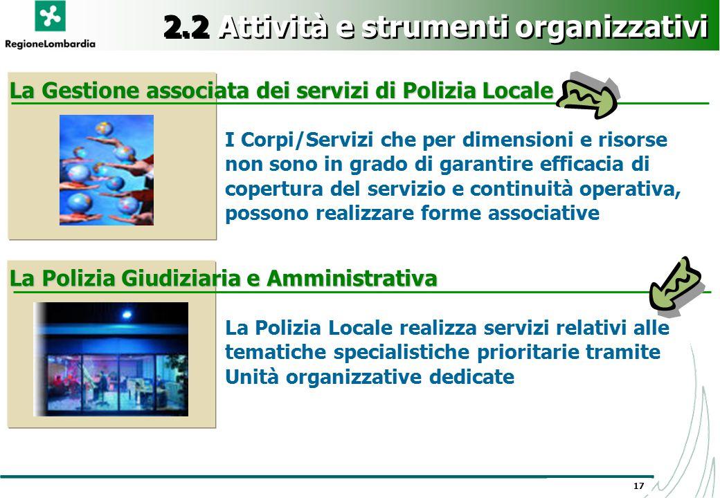 17 2.2 Attività e strumenti organizzativi I Corpi/Servizi che per dimensioni e risorse non sono in grado di garantire efficacia di copertura del servi