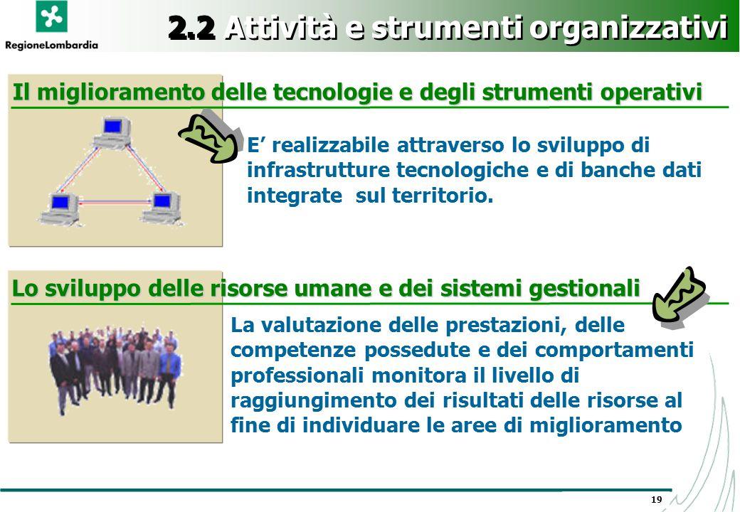 19 2.2 Attività e strumenti organizzativi E' realizzabile attraverso lo sviluppo di infrastrutture tecnologiche e di banche dati integrate sul territo