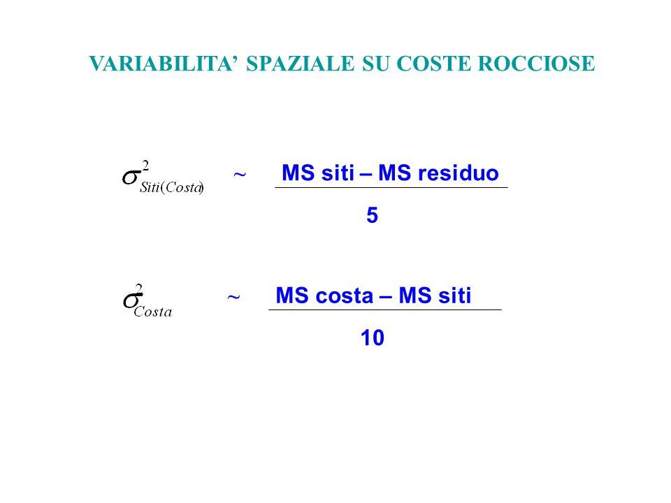 ~ MS siti – MS residuo 5 VARIABILITA' SPAZIALE SU COSTE ROCCIOSE ~ MS costa – MS siti 10