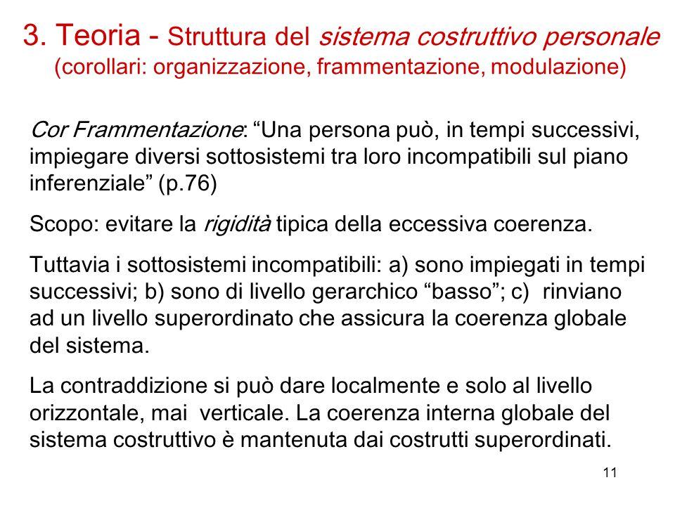 11 Cor Frammentazione: Una persona può, in tempi successivi, impiegare diversi sottosistemi tra loro incompatibili sul piano inferenziale (p.76) Scopo: evitare la rigidità tipica della eccessiva coerenza.