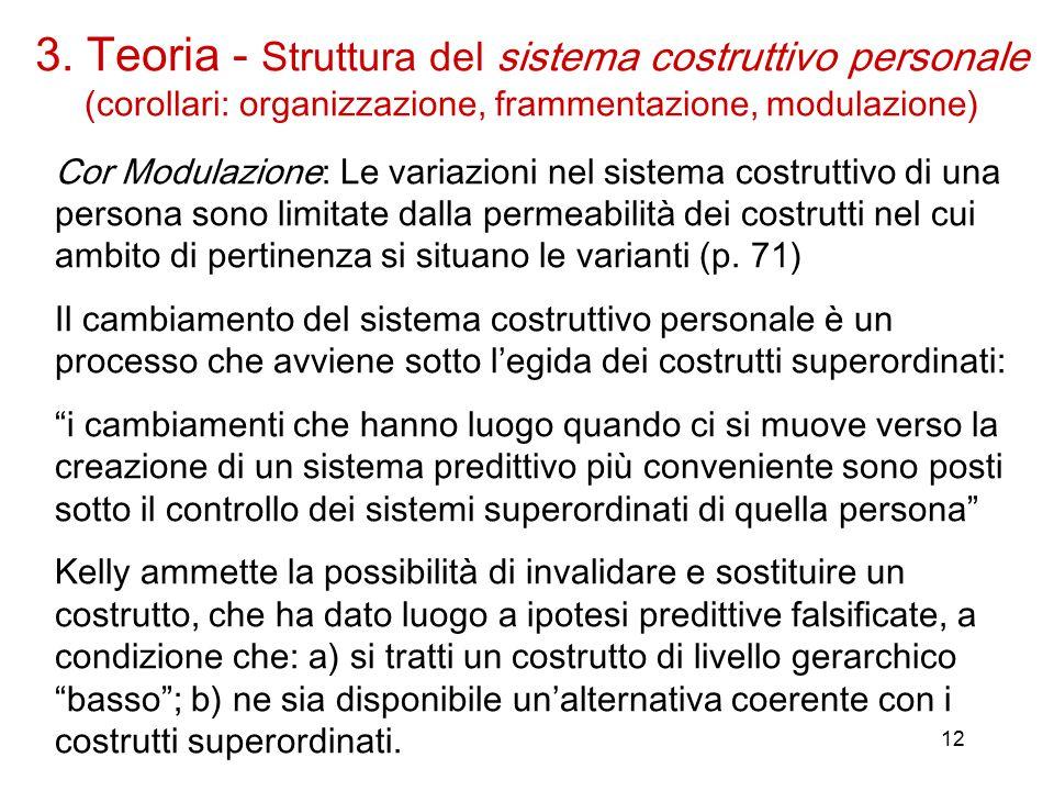 12 Cor Modulazione: Le variazioni nel sistema costruttivo di una persona sono limitate dalla permeabilità dei costrutti nel cui ambito di pertinenza si situano le varianti (p.