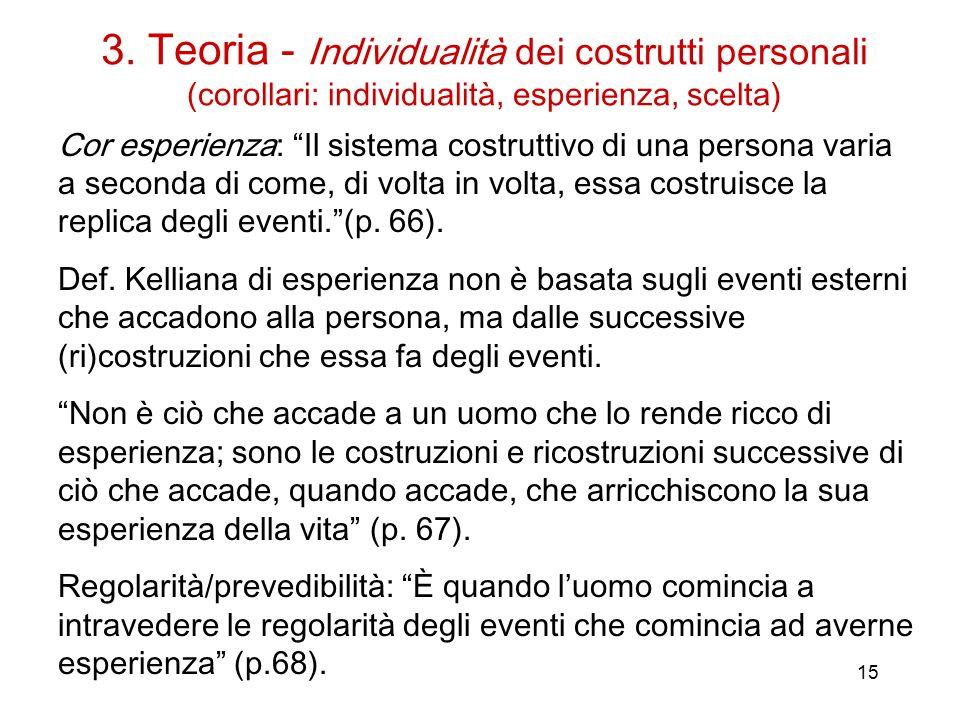 15 Cor esperienza: Il sistema costruttivo di una persona varia a seconda di come, di volta in volta, essa costruisce la replica degli eventi. (p.