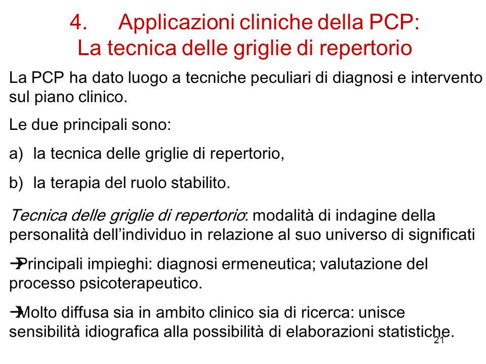 21 4.Applicazioni cliniche della PCP: La tecnica delle griglie di repertorio Le due principali sono: a)la tecnica delle griglie di repertorio, b)la terapia del ruolo stabilito.