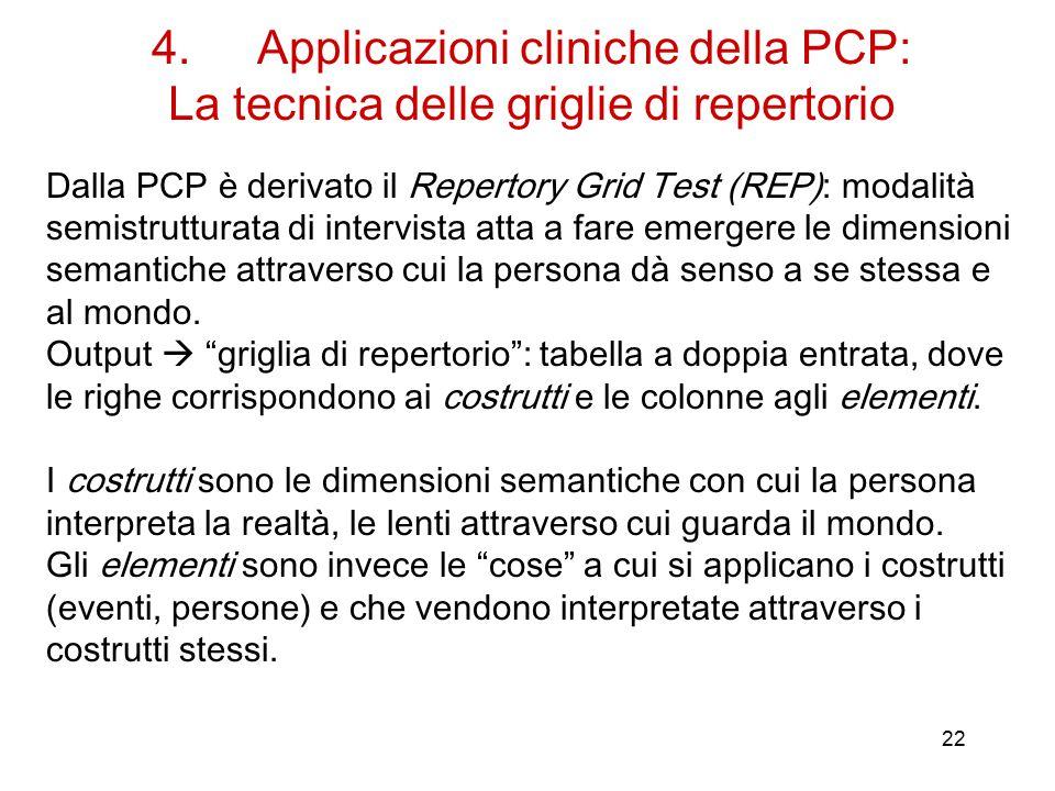 22 Dalla PCP è derivato il Repertory Grid Test (REP): modalità semistrutturata di intervista atta a fare emergere le dimensioni semantiche attraverso cui la persona dà senso a se stessa e al mondo.