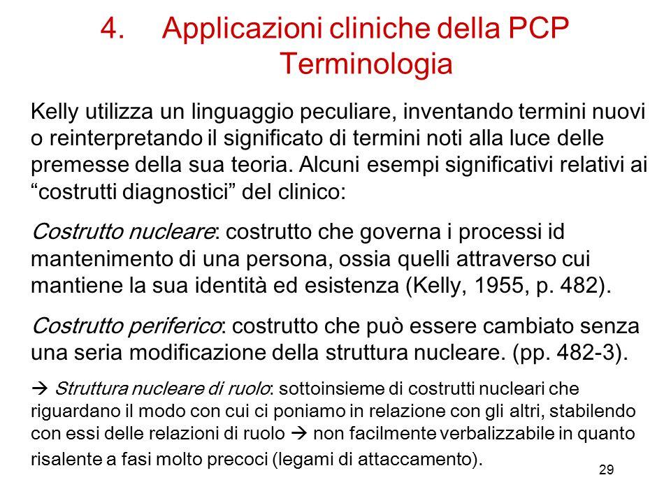 29 4.Applicazioni cliniche della PCP Terminologia Kelly utilizza un linguaggio peculiare, inventando termini nuovi o reinterpretando il significato di termini noti alla luce delle premesse della sua teoria.
