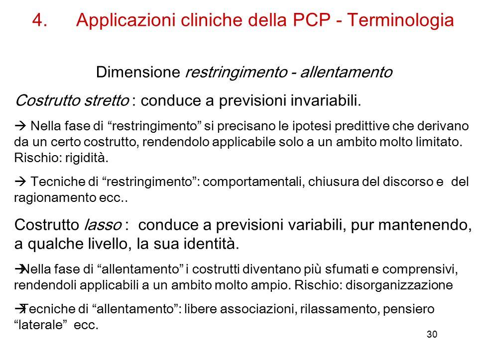 30 4.Applicazioni cliniche della PCP - Terminologia Dimensione restringimento - allentamento Costrutto stretto : conduce a previsioni invariabili.