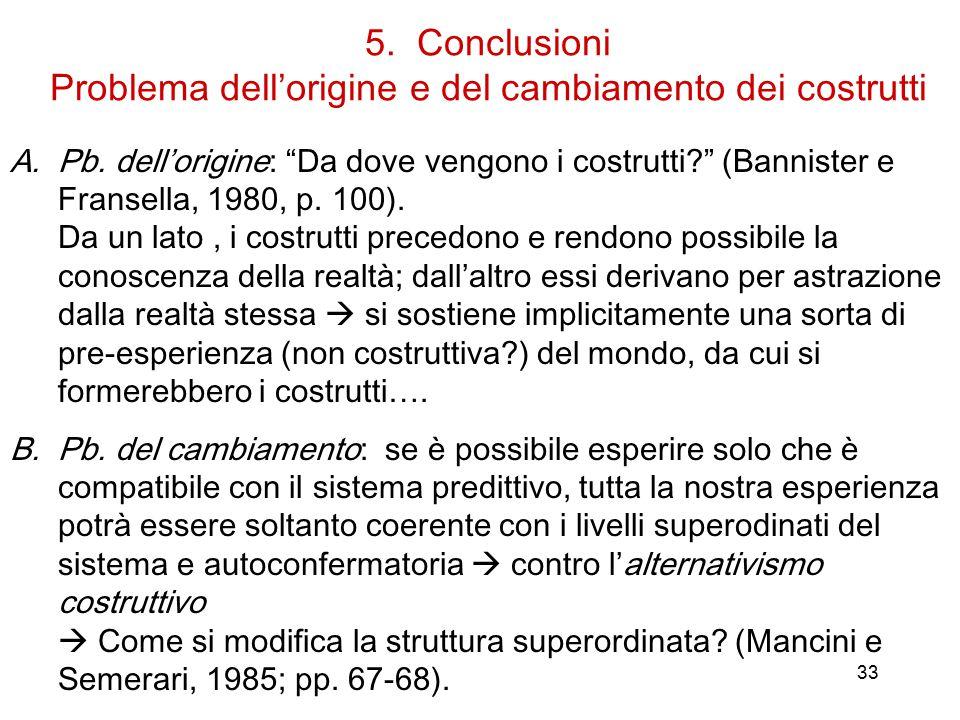 33 5.Conclusioni Problema dell'origine e del cambiamento dei costrutti A.Pb.