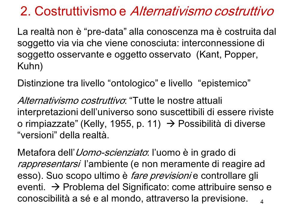 """4 2. Costruttivismo e Alternativismo costruttivo La realtà non è """"pre-data"""" alla conoscenza ma è costruita dal soggetto via via che viene conosciuta:"""