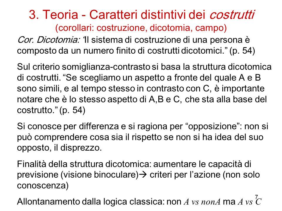 7 3.Teoria - Caratteri distintivi dei costrutti (corollari: costruzione, dicotomia, campo) Cor.
