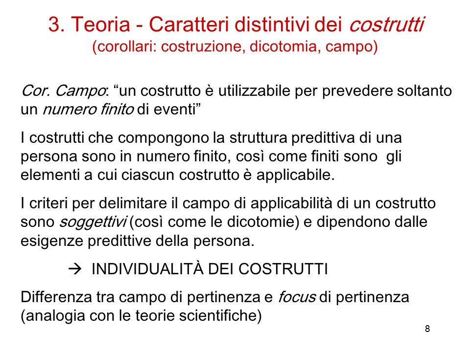 8 3.Teoria - Caratteri distintivi dei costrutti (corollari: costruzione, dicotomia, campo) Cor.