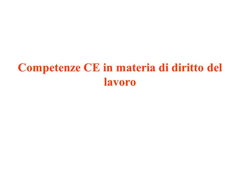 Competenze CE in materia di diritto del lavoro