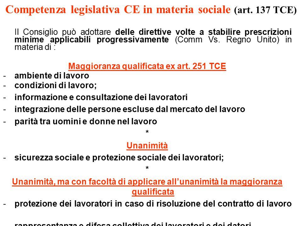 Competenza legislativa CE in materia sociale (art.