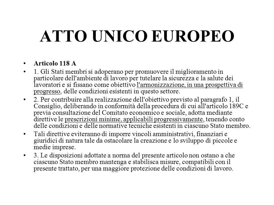 ATTO UNICO EUROPEO Articolo 118 A 1.
