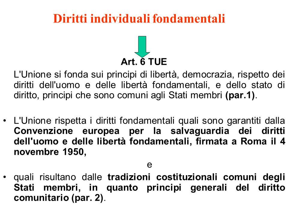 Diritti individuali fondamentali Art.