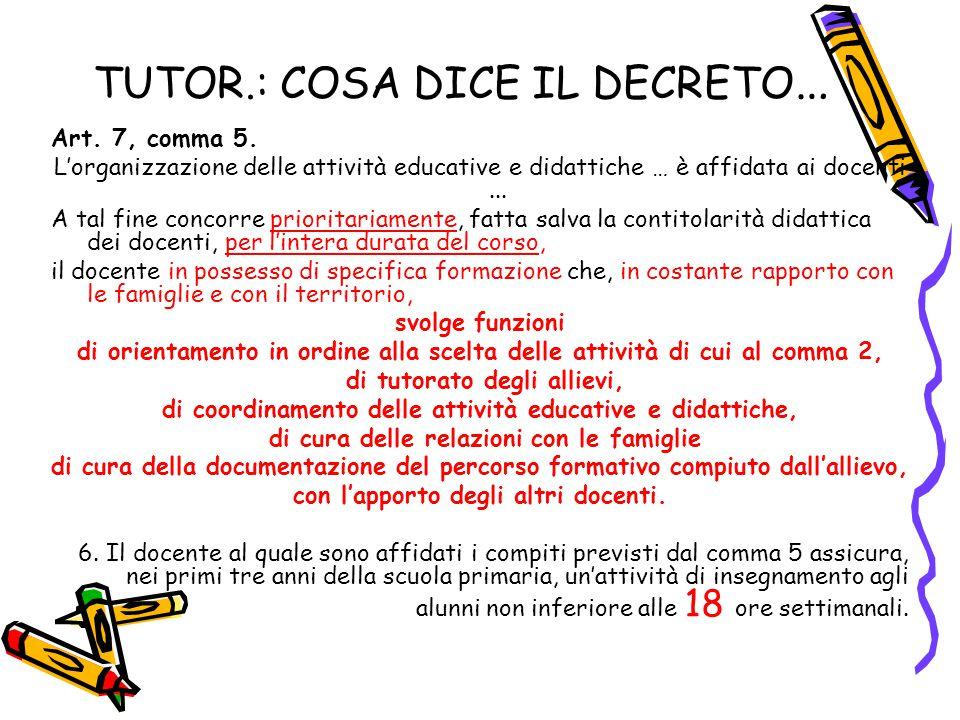 TUTOR.: COSA DICE IL DECRETO … Art. 7, comma 5. L'organizzazione delle attività educative e didattiche … è affidata ai docenti... A tal fine concorre