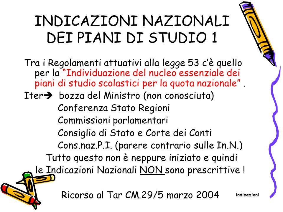 INDICAZIONI NAZIONALI DEI PIANI DI STUDIO 1 Tra i Regolamenti attuativi alla legge 53 c'è quello per la Individuazione del nucleo essenziale dei piani di studio scolastici per la quota nazionale .