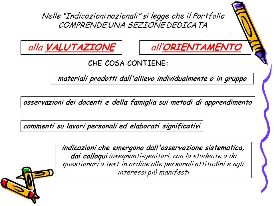 """Nelle """"Indicazioni nazionali"""" si legge che il Portfolio COMPRENDE UNA SEZIONE DEDICATA alla VALUTAZIONE all'ORIENTAMENTO materiali prodotti dall'allie"""