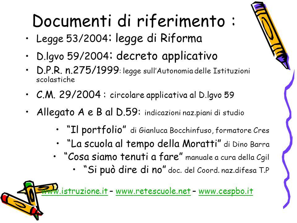 Documenti di riferimento : Legge 53/2004 : legge di Riforma D.lgvo 59/2004 : decreto applicativo D.P.R. n.275/1999 : legge sull'Autonomia delle Istitu