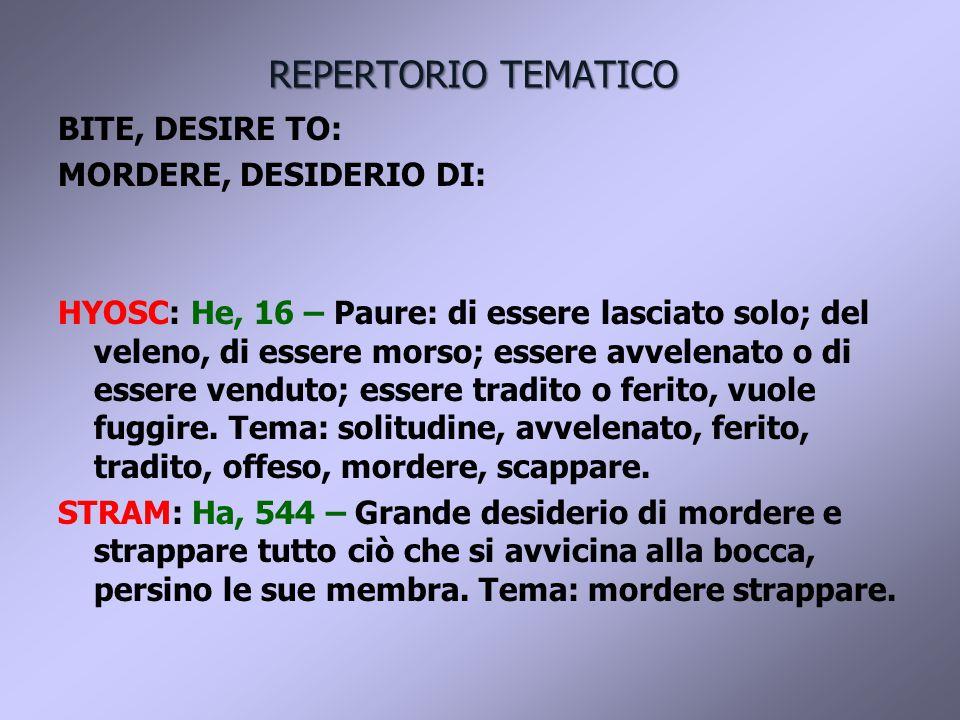 REPERTORIO TEMATICO BITE, DESIRE TO: MORDERE, DESIDERIO DI: HYOSC: He, 16 – Paure: di essere lasciato solo; del veleno, di essere morso; essere avvelenato o di essere venduto; essere tradito o ferito, vuole fuggire.
