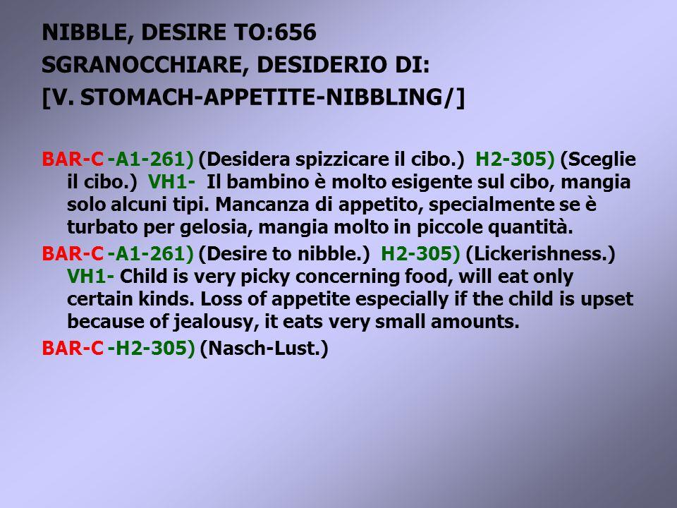 NIBBLE, DESIRE TO:656 SGRANOCCHIARE, DESIDERIO DI: [V.