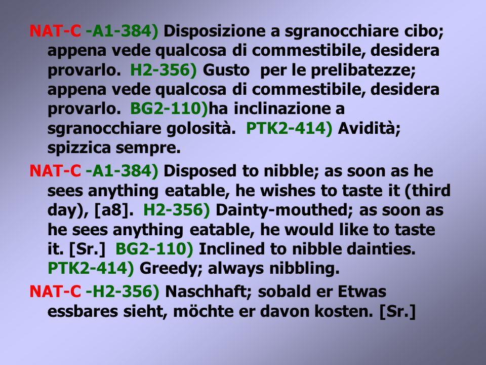 NAT-C -A1-384) Disposizione a sgranocchiare cibo; appena vede qualcosa di commestibile, desidera provarlo.
