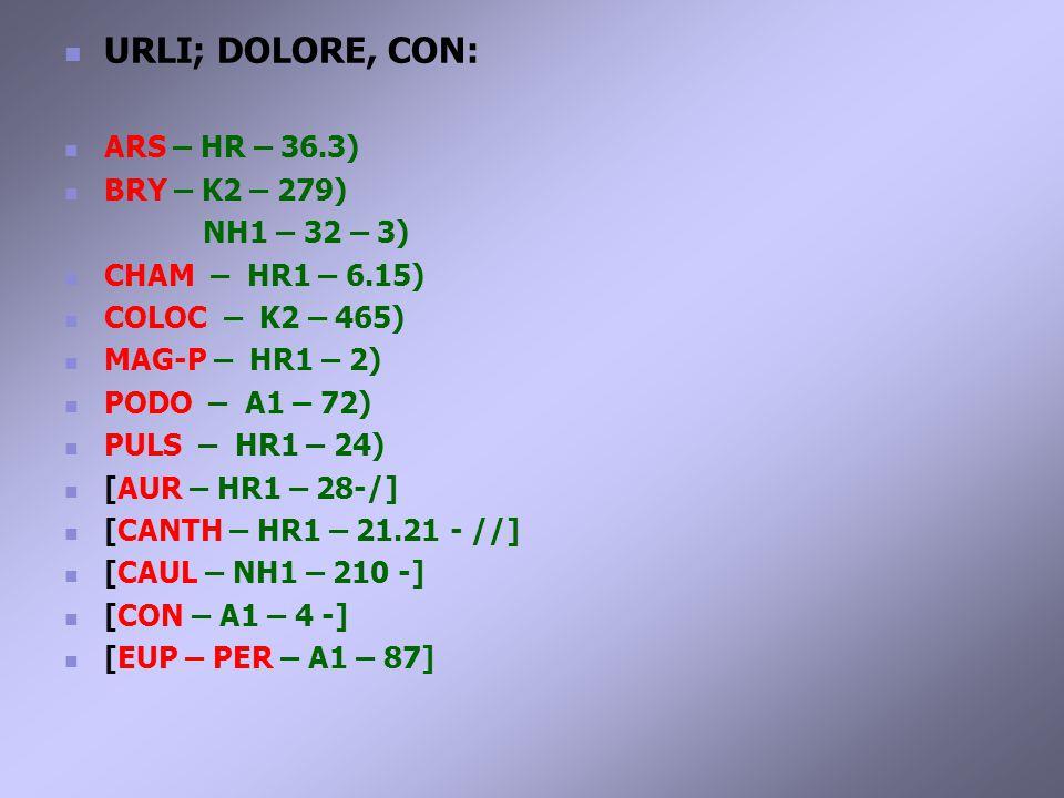 URLI; DOLORE, CON: ARS – HR – 36.3) BRY – K2 – 279) NH1 – 32 – 3) CHAM – HR1 – 6.15) COLOC – K2 – 465) MAG-P – HR1 – 2) PODO – A1 – 72) PULS – HR1 – 24) [AUR – HR1 – 28-/] [CANTH – HR1 – 21.21 - //] [CAUL – NH1 – 210 -] [CON – A1 – 4 -] [EUP – PER – A1 – 87]