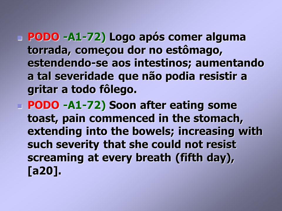 PODO -A1-72) Logo após comer alguma torrada, começou dor no estômago, estendendo-se aos intestinos; aumentando a tal severidade que não podia resistir a gritar a todo fôlego.