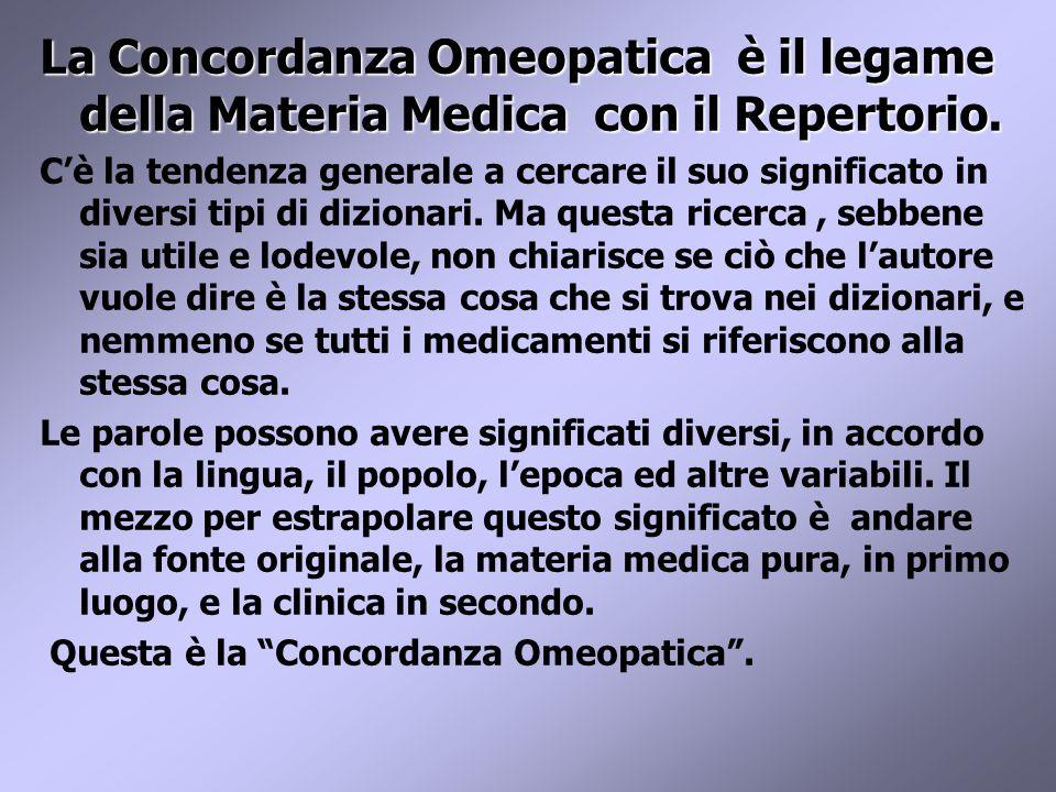 La Concordanza Omeopatica è il legame della Materia Medica con il Repertorio.