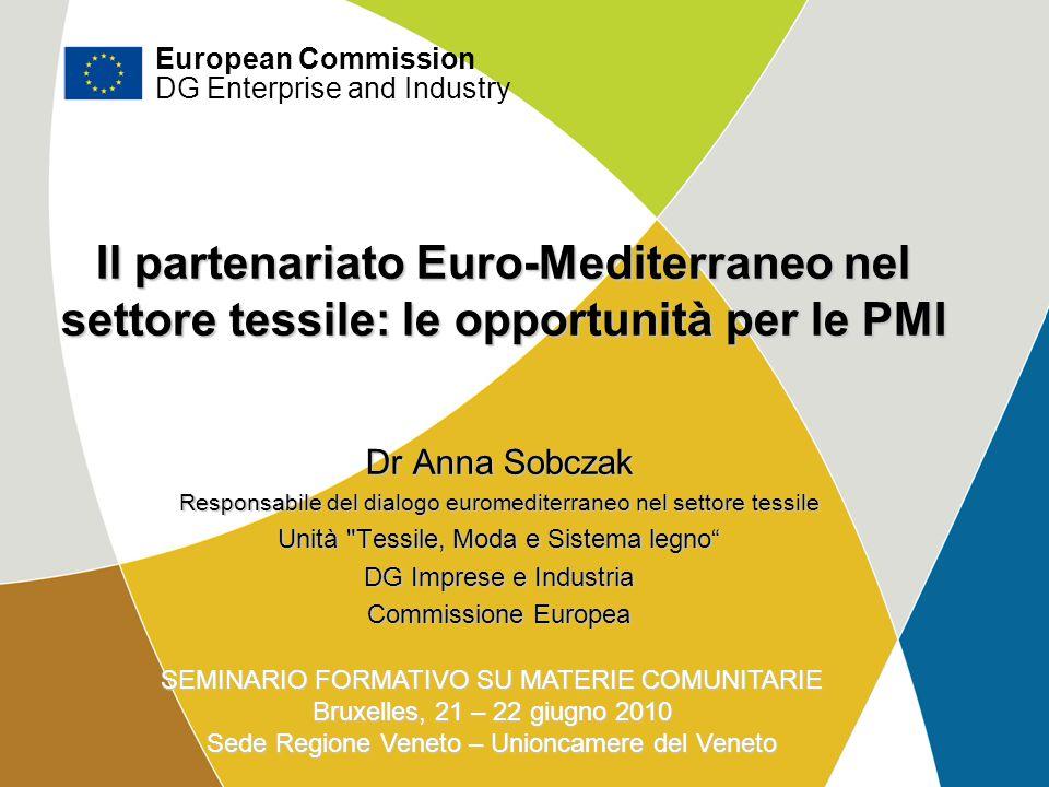 DG Imprese e industria Il partenariato Euro-Mediterraneo nel settore tessile: le opportunità per le PMI Dr Anna Sobczak Responsabile del dialogo eurom