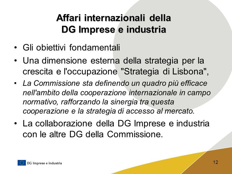 DG Imprese e industria 12 Affari internazionali della DG Imprese e industria Gli obiettivi fondamentali Una dimensione esterna della strategia per la